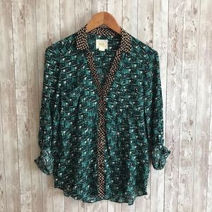 Anthropolgie Maeve green and black tribal blouse